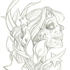 calla-lilies-sugar-skull-girl-tattoo-design