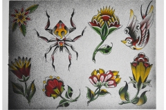Traditional Ornamental Spider and Flower Tattoo Flash