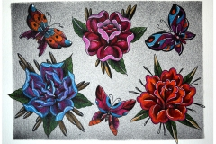 Traditional Hand Painted Butterflies and Roses Tattoo Flash