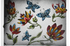 Hand Painted Ornamental Butterflies and Flowers Tattoo Flash