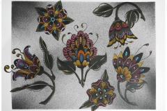 Vintage Style Ornamental Flowers Tattoo Flash