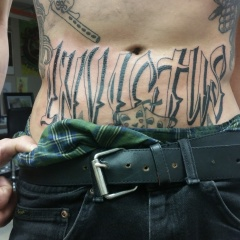 """Invictus"" Belly Rocker Tattoo"