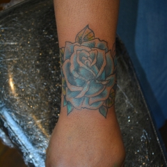 Blue Rose Cover-up Tattoo