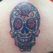 Custom Blue Sugar Skull Tattoo