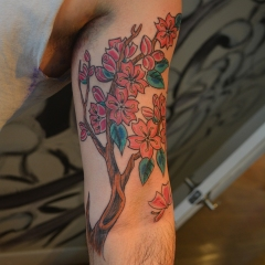 Colorful Cherry Blossoms Tattoo