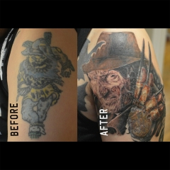 Before and After Freddy Kruger Cover-up Tattoo