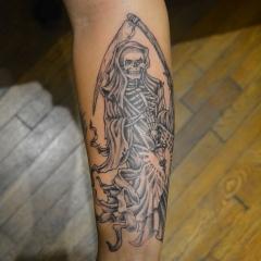 Black and Grey Grim Reaper Tattoo