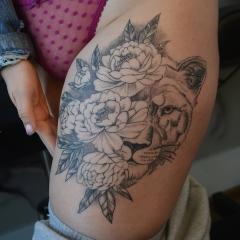 Peony Lioness Tattoo Thighpiece