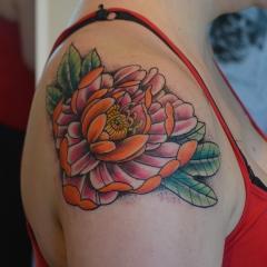 Orange Peony Tattoo