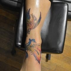 Rainbow Phoenix Foot Tattoo