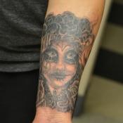 Santa Muerte Sugar Skull Tattoo