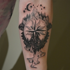 Traveling Compass Tattoo
