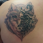 Mandala Wolf Face Tattoo