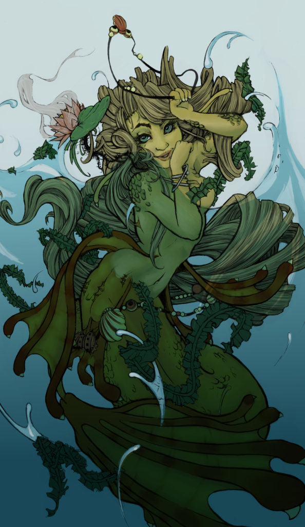 Colored flatwork of a mermaid